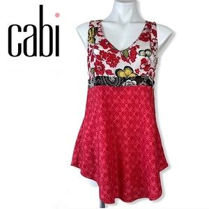 CAbi 948 Silk Floral Butterfly Tunic Blouse Top S